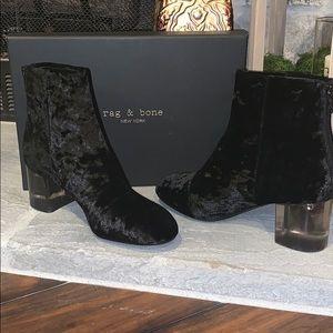 New! Rag & Bone Drea Block Heel Boot- Black Velvet